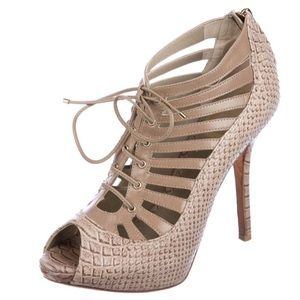 Like-New Dior Leather Cutout Snakeskin Sandals 5.5